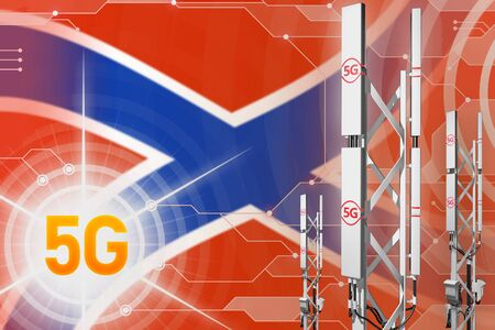 Novorossia 5G network industrial illustration, big cellular tower or mast on hi-tech background with the flag - 3D Illustration