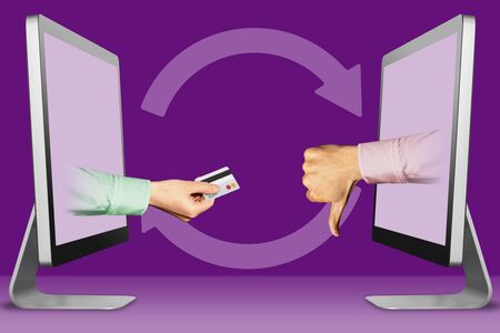 e-commerce concept, hands from monitors. hand with credit card and thumbs down, dislike . 3d illustration
