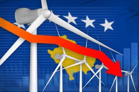 Kosovo wind energy power lowering chart, arrow down  - modern energy industrial illustration. 3D Illustration