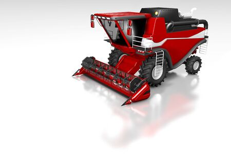 big rendered red farm agricultural combine harvester side top view with reflection on white, mockup with place for text - industrial 3D illustration Stock Photo