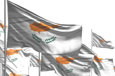 beautiful anthem day flag 3d illustration  - many Cyprus flags are waving isolated on white