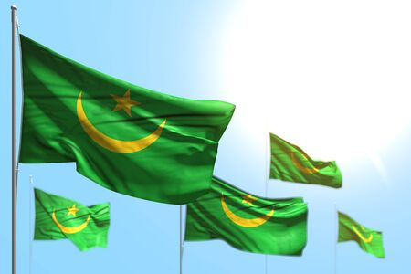 nice 5 flags of Mauritania are waving against blue sky picture with soft focus - any occasion flag 3d illustration Stock Photo