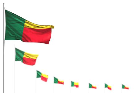 nice Benin isolated flags placed diagonal, illustration with soft focus and place for your content - any celebration flag 3d illustration