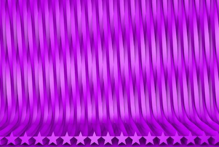geometric surfaces formed by extruded star shape, christmass or veterans day concept - sci-fi pink 3D Illustration of abstract background