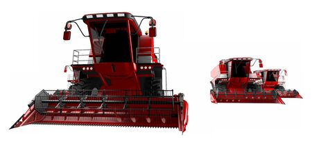 3 red rural harvesters isolated on white background - farm vehicle, industrial 3D illustration