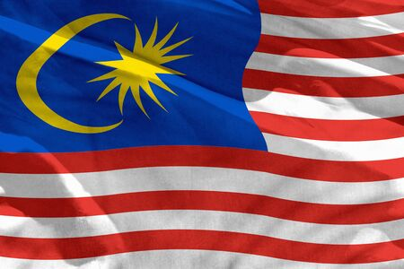 Fluttering Malaysia flag for using as texture or background, the flag is waving on the wind