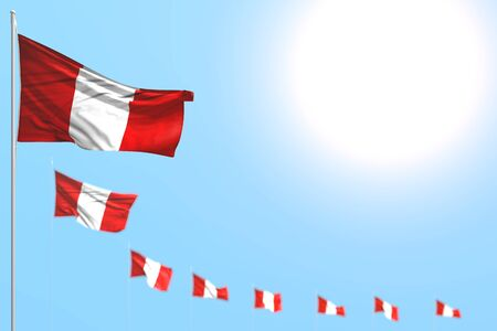 wonderful celebration flag 3d illustration  - many Peru flags placed diagonal with soft focus and empty space for your content