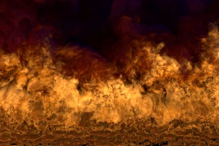Flame from the bottom corners - fire 3D illustration of visionary flaming explosion, sylized frame with dark smoke isolated on black