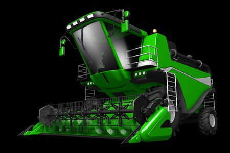 large rendered green rural harvester front view isolated on black - industrial 3D illustration