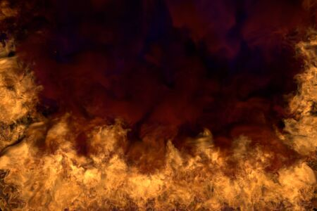 Flames from both the corners and bottom - fire 3D illustration of blazing fire, half frame with scary dense smoke isolated on black background