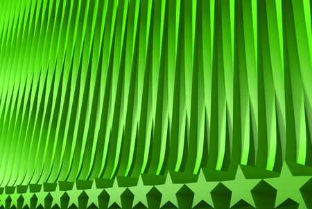 geometric surfaces formed by extruded star shape, veterans day or new year concept - nice green 3D Illustration of abstract background Banco de Imagens - 126596520
