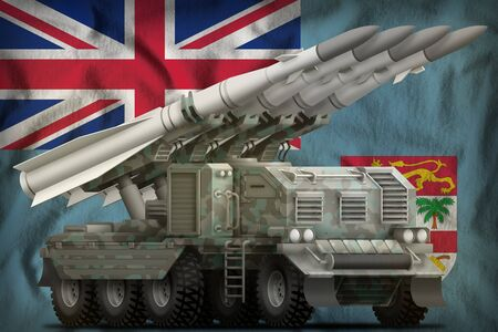 tactical short range ballistic missile with arctic camouflage on the Fiji flag background. 3d Illustration