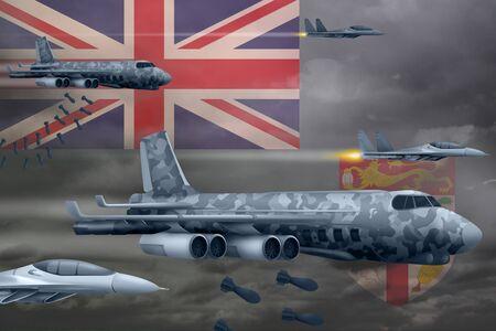 Fiji bomb air strike concept. Modern Fiji war airplanes bombing on flag background. 3d Illustration