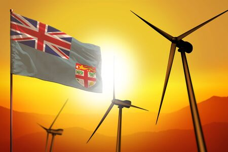 Fiji wind energy, alternative energy environment concept with turbines and flag on sunset - alternative renewable energy - industrial illustration, 3D illustration