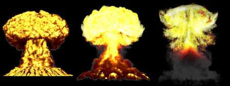 3 large very detailed different phases mushroom cloud explosion of fusion bomb with smoke and fire isolated on black - 3D illustration of explosion Stock Photo