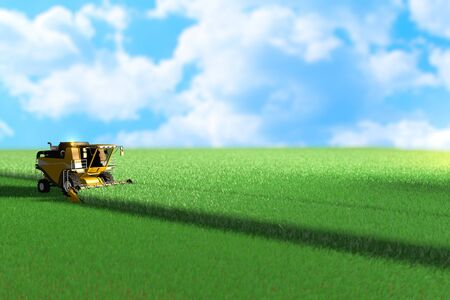 Yellow farm agricultural harvester is working on large green field - harvesting concept, industrial 3D illustration