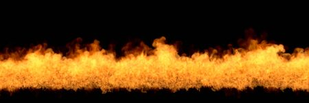 glowing wild fire on black background, fire line at bottom - fire 3D illustration