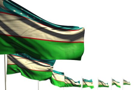 wonderful Uzbekistan isolated flags placed diagonal, picture with soft focus and space for your text - any celebration flag 3d illustration
