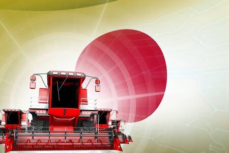 Digital industrial 3D illustration of red modern farm combine harvesters on Japan flag, farming equipment modernisation concept