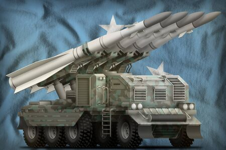 tactical short range ballistic missile with arctic camouflage on the Micronesia flag background. 3d Illustration