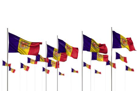 pretty anthem day flag 3d illustration  - Andorra isolated flags placed in row with bokeh and place for text