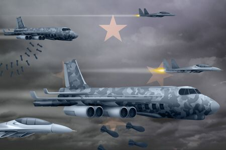 Micronesia bomb air strike concept. Modern Micronesia war airplanes bombing on flag background. 3d Illustration