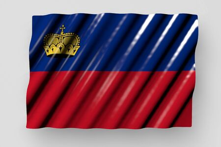 pretty shining flag of Liechtenstein with large folds lie isolated on grey - any occasion flag 3d illustration