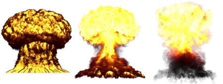 3 huge highly detailed different phases mushroom cloud explosion of thermonuclear bomb with smoke and fire isolated on white - 3D illustration of explosion
