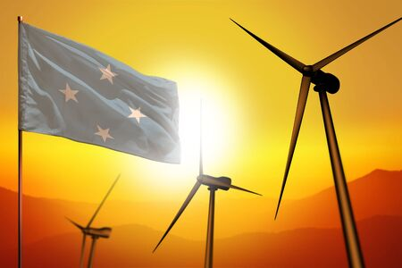 Micronesia wind energy, alternative energy environment concept with turbines and flag on sunset - alternative renewable energy - industrial illustration, 3D illustration