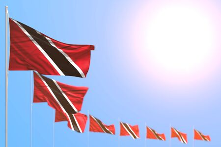 cute labor day flag 3d illustration  - many Trinidad and Tobago flags placed diagonal with bokeh and empty space for your content Stok Fotoğraf