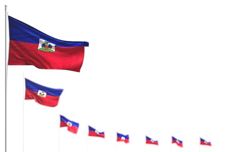 beautiful any celebration flag 3d illustration  - Haiti isolated flags placed diagonal, image with selective focus and space for text