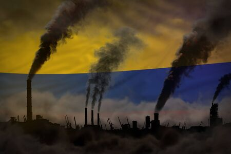 Global warming concept - dense smoke from industrial pipes on Colombia flag background with place for your text - industrial 3D illustration Reklamní fotografie