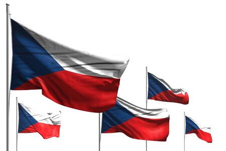 nice five flags of Czechia are wave isolated on white - any holiday flag 3d illustration