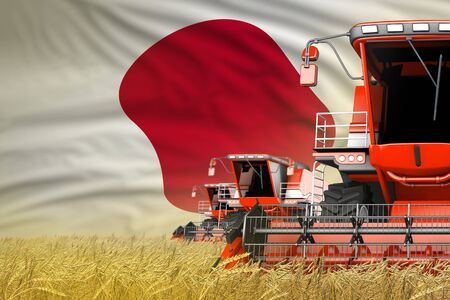 three red modern combine harvesters with Japan flag on wheat field - close view, farming concept - industrial 3D illustration