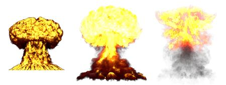 3 huge very highly detailed different phases mushroom cloud explosion of thermonuclear bomb with smoke and fire isolated on white - 3D illustration of explosion