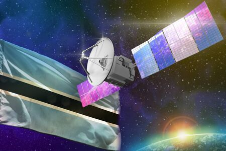 Satellite with Botswana flag, space communications technology concept - 3D Illustration Stock Photo