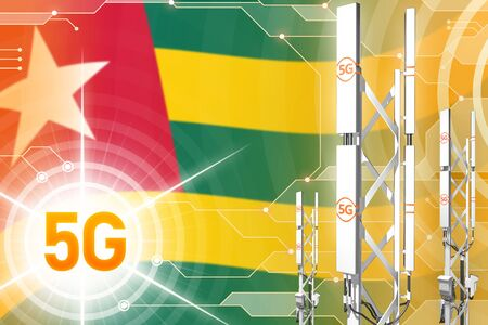 Togo 5G network industrial illustration, large cellular tower or mast on digital background with the flag - 3D Illustration
