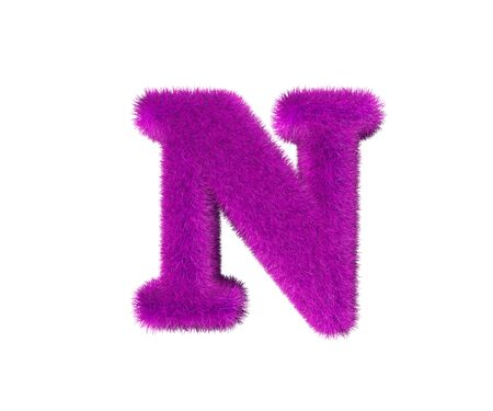 letter N of purple wooly font isolated on white background, glamorous concept 3D illustration of symbols Imagens