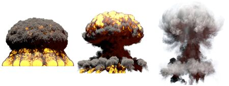 3 huge different phases fire mushroom cloud explosion of super bomb with smoke and flames isolated on white - 3D illustration of explosion Stock Photo