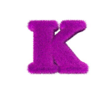 purple hirs alphabet isolated on white - letter K, fashion concept 3D illustration of symbols