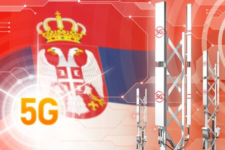 Serbia 5G network industrial illustration, huge cellular tower or mast on hi-tech background with the flag - 3D Illustration