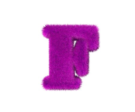 pink wool alphabet isolated on white - letter F, fashion concept 3D illustration of symbols
