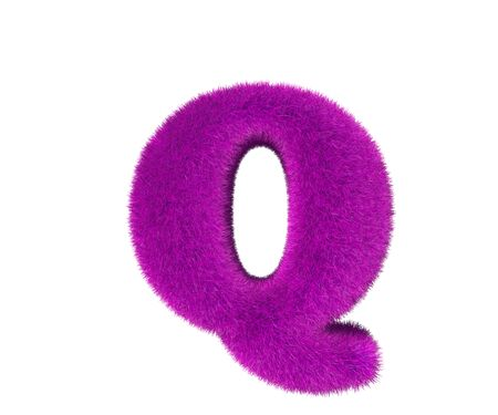 purple wooly alphabet isolated on white - letter Q, fashion concept 3D illustration of symbols
