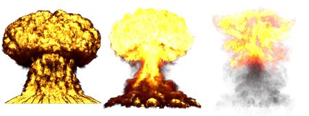 3 huge highly detailed different phases mushroom cloud explosion of nuclear bomb with smoke and fire isolated on white - 3D illustration of explosion