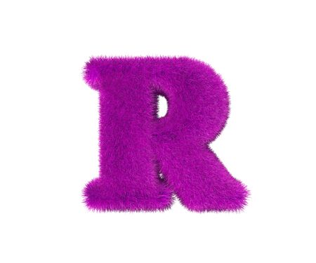 letter R of pink pilous alphabet isolated on white background, glamorous concept 3D illustration of symbols