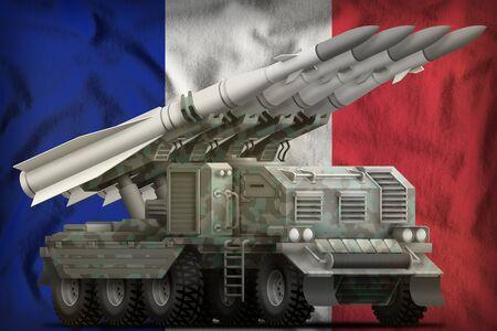 tactical short range ballistic missile with arctic camouflage on the France flag background. 3d Illustration