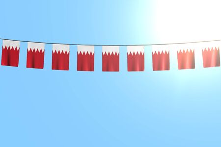 wonderful many Bahrain flags or banners hanging on rope on blue sky background - any occasion flag 3d illustration