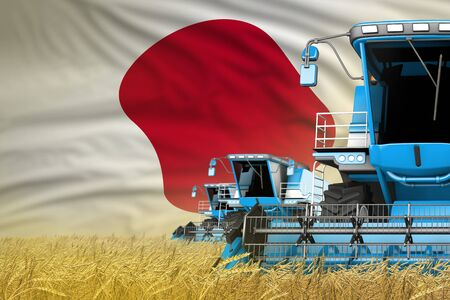 industrial 3D illustration of 3 blue modern combine harvesters with Japan flag on rye field - close view, farming concept Stock Photo