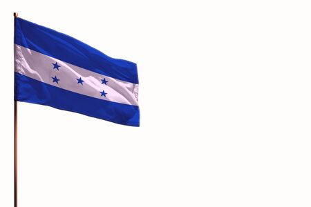 Fluttering Honduras flag isolated, mockup with the place for your text on white background. Stok Fotoğraf