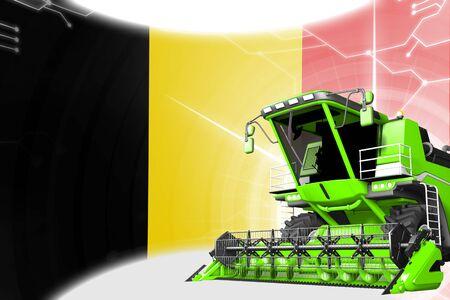 Agriculture innovation concept, green advanced grain combine harvester on Belgium flag - digital industrial 3D illustration Foto de archivo